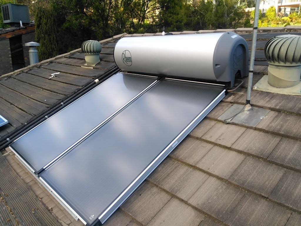 rheem solar water heater. new rheem hiline solar hot water system and panels installed heater v