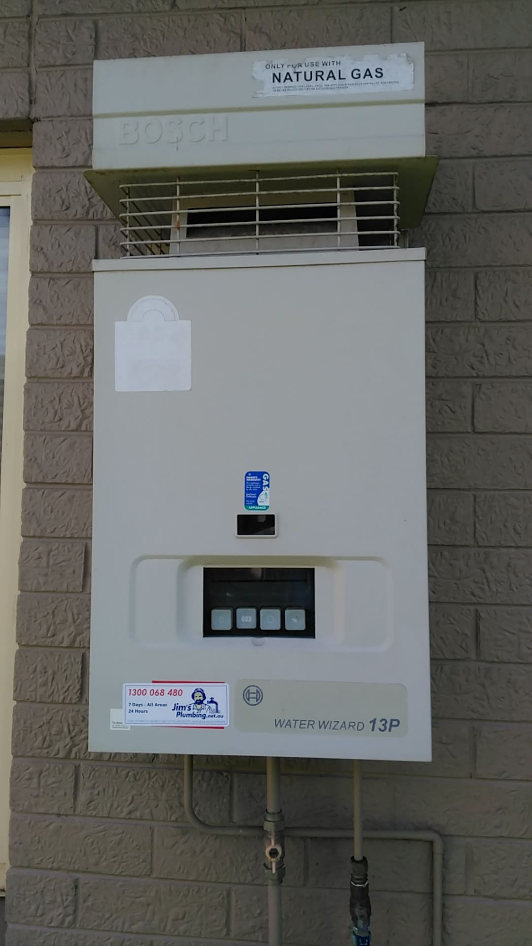 Bosch Range Top >> BOSCH Waterwizard 13P Gas external hot water system - Jim's Plumbing